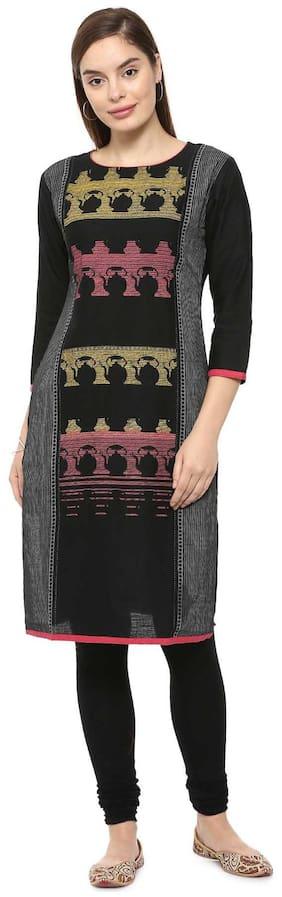 Soch Women Cotton Printed Straight Kurti - Black