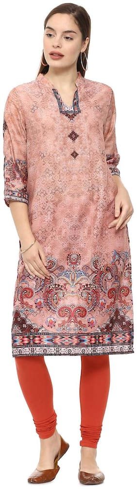 Soch Women Cotton Printed Straight Kurti - Pink