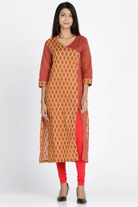 Soch Printed Cotton Straight Mustard Kurti