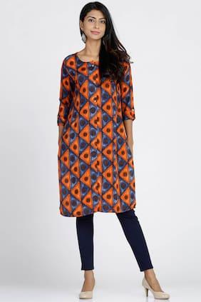 Soch Women Rayon Printed Straight Kurti - Blue