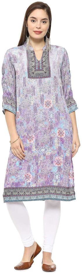 Soch Women Polyester Printed Straight Kurti - Purple