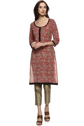 Soch Women Cotton Printed Straight Kurti - Multi