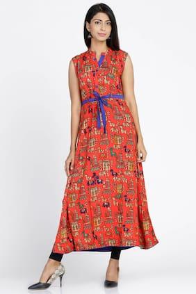 Soch Women Rayon Printed Straight Kurti - Red