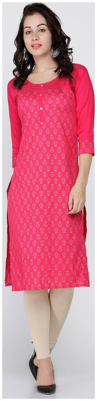Soch Women Silk Printed Straight Kurti - Pink