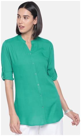 Women Solid Mandarin Collar Top