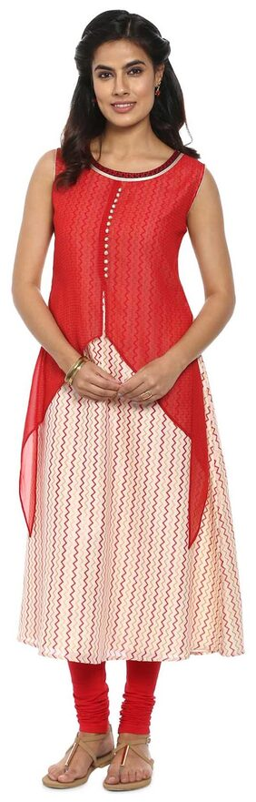 Soch Red and Off-White Embroidered Georgette Kurti