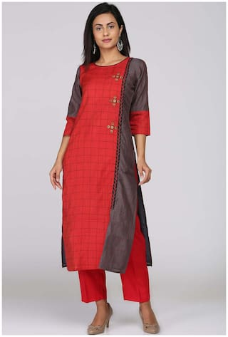 Soch Red Chanderi Solid Kurti