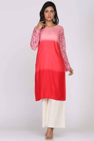 Soch Red Cotton Shaded Kurti