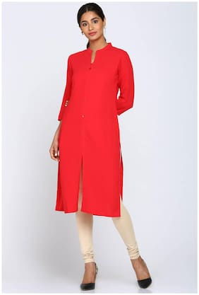 Soch Women Georgette Solid Straight Kurti - Red