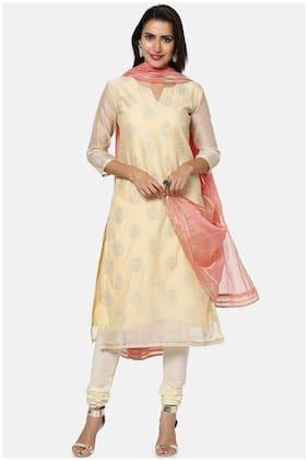 Soch Beige Unstitched Kurta with bottom & dupatta With dupatta Dress Material