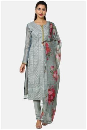 Soch Grey Unstitched Kurta with bottom & dupatta With dupatta Dress Material