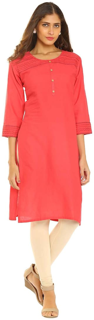 Soch Women Cotton Solid Straight Kurti - Red
