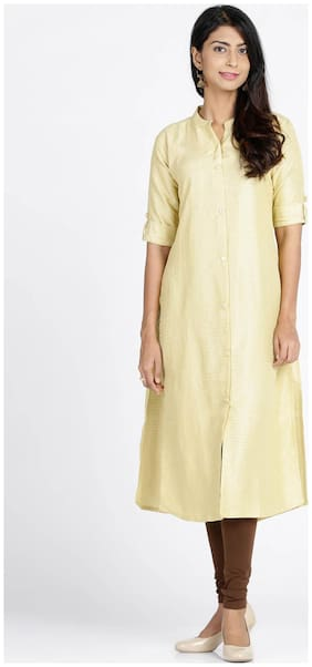 Soch Women Polyester Solid Straight Kurti - Yellow