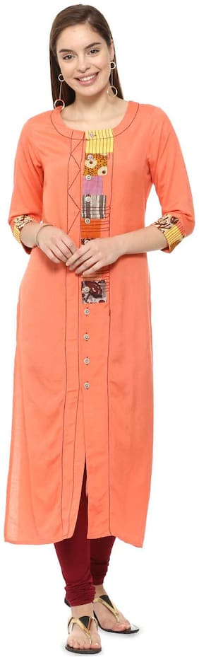 Soch Women Cotton Solid Straight Kurti - Orange