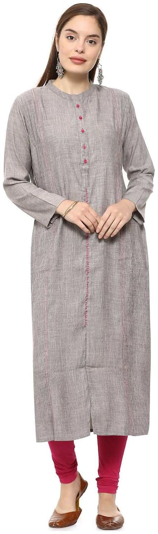 Soch Women Cotton Solid Straight Kurti - Grey