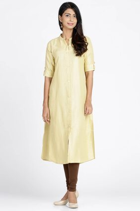Soch Solid / Plain Synthetic Straight Gold Kurti