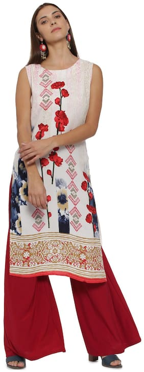 Soch Women Rayon Printed Straight Kurti - White