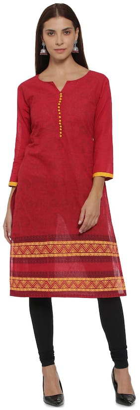 Soch Women Cotton Printed Straight Kurta - Red
