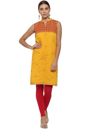 Soch Straight Printed Chanderi Yellow Kurti