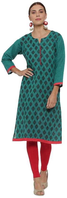 Soch Women Cotton Printed Straight Kurta - Green