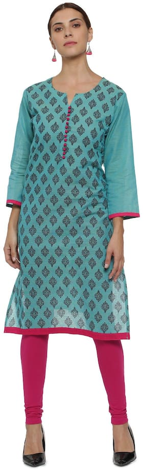 Soch Women Cotton Printed Straight Kurti - Blue