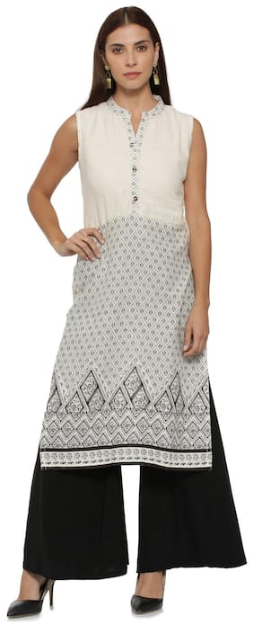 Soch Women Cotton Printed Straight Kurta - White