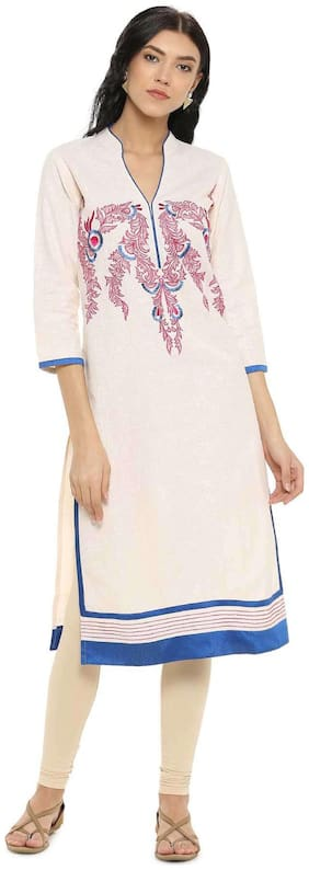 Women Embroidered Straight Kurta