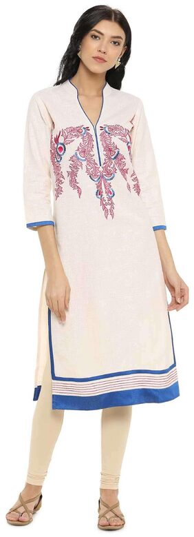 Soch Straight Embroidery Linen Cream Kurti