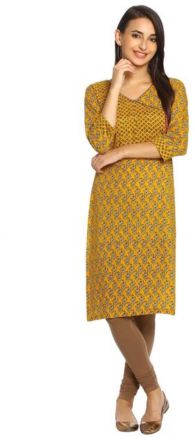 Soch Straight Cotton Blend Printed Mustard Kurti