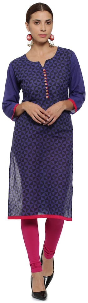 Soch Women Cotton Printed Straight Kurta - Purple