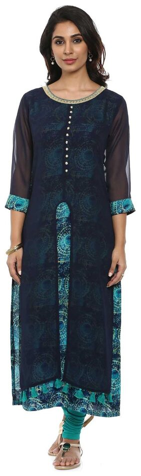 Soch Teal and Navy Blue Printed Georgette Kurti