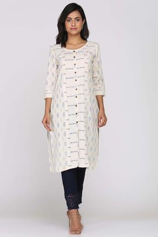 Soch White Cotton Printed Kurti