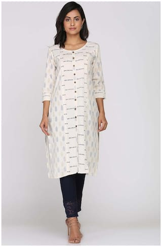 Soch Women White Printed Straight Kurti