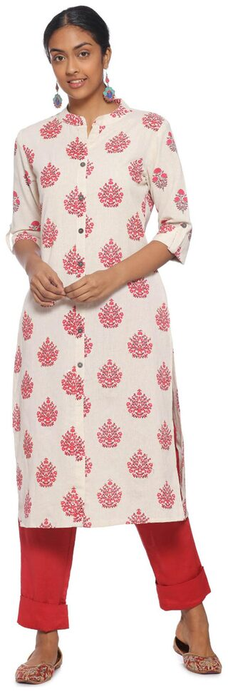 Soch White Cotton Printed Kurti