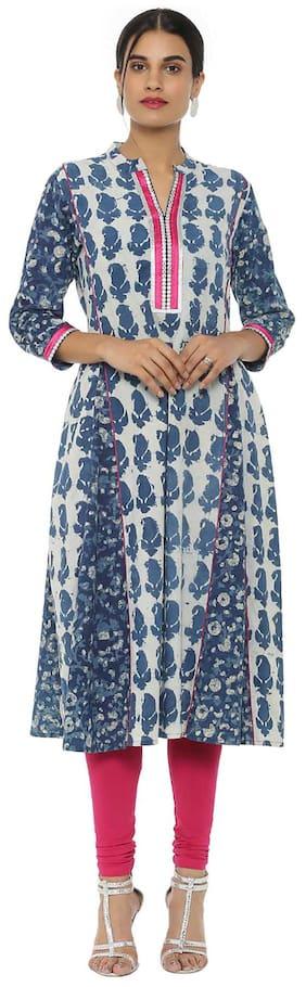 Soch Women Cotton Printed A line Kurti - White