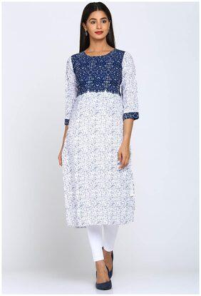 Soch Women Polyester Printed Straight Kurti - White