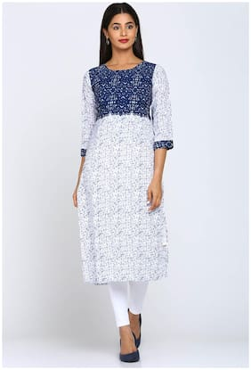 Soch Women Polyester Printed Straight Kurti - White