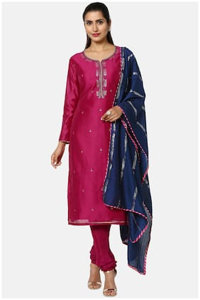 Soch Purple Unstitched Kurta with bottom & dupatta With dupatta Dress Material