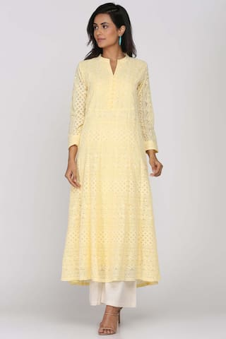 Soch Yellow Georgette Embroidered Kurti