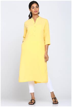 Soch Women Georgette Solid Straight Kurti - Yellow