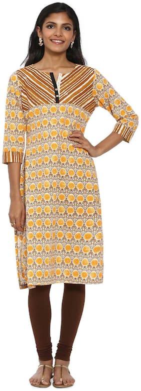 Soch Women Cotton Printed Straight Kurta - Yellow