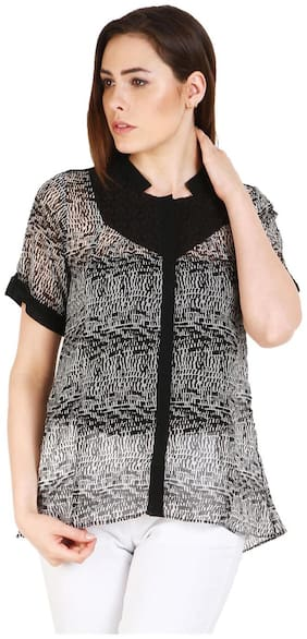 SOIE Casual Short Sleeve Printed Women's Black White Top