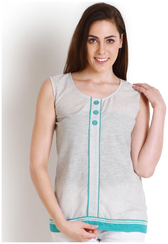 SOIE Casual Sleeveless Striped Women's Blue Top