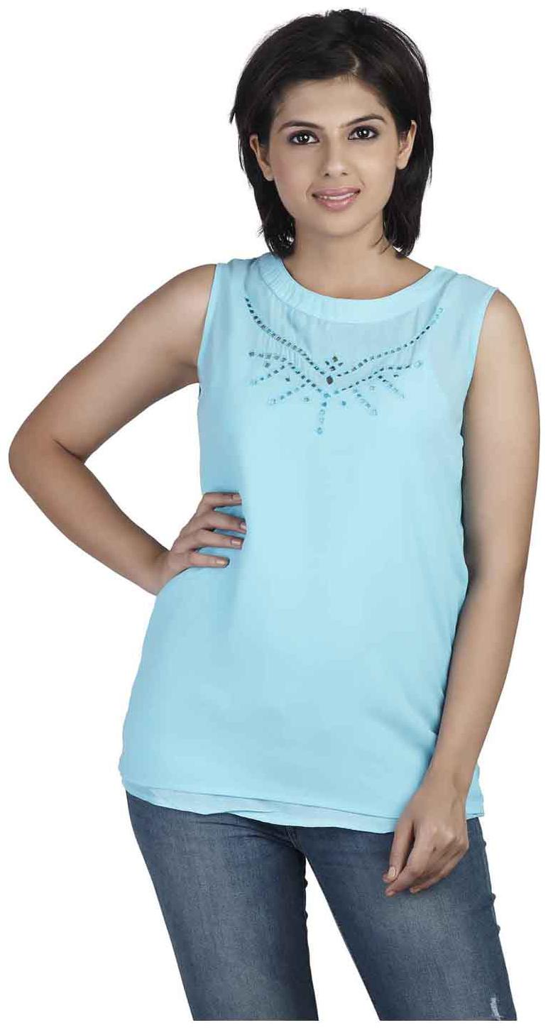 SOIE Casual Sleeveless Solid Women's Light Blue Top