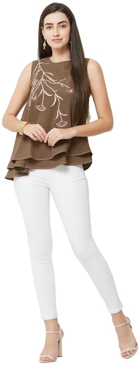 Soie Women Embroidered A-line top - Brown