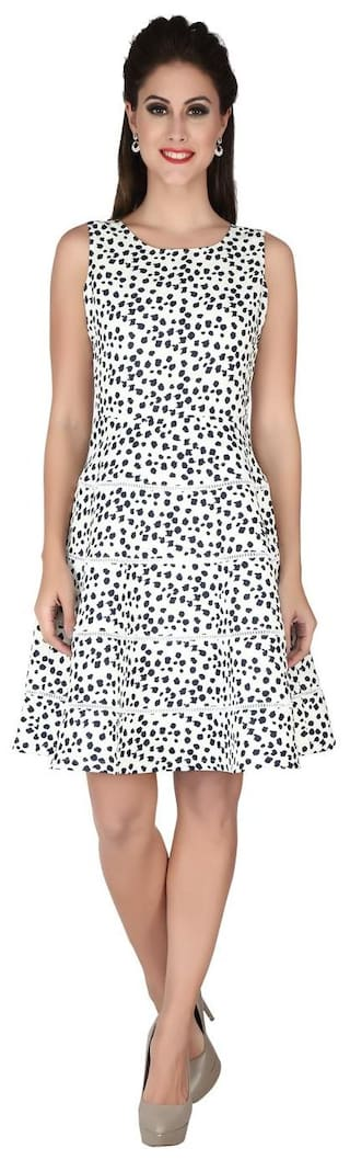soie SLEEVELESS SHORT DRESS WITH CIRCULAR BOTTOM