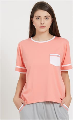 Soie Women Cotton Solid Top and shorts set - Pink