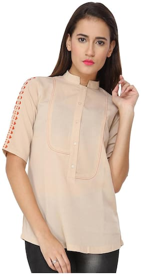 SOIE SOLID CASUAL TOP