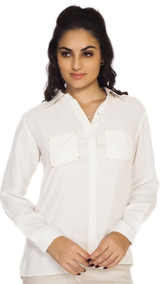 Soie Off White Glitter Georgette Solid Regular Collar Shirt