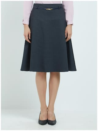 Soie Solid A-line skirt Mini Skirt - Grey